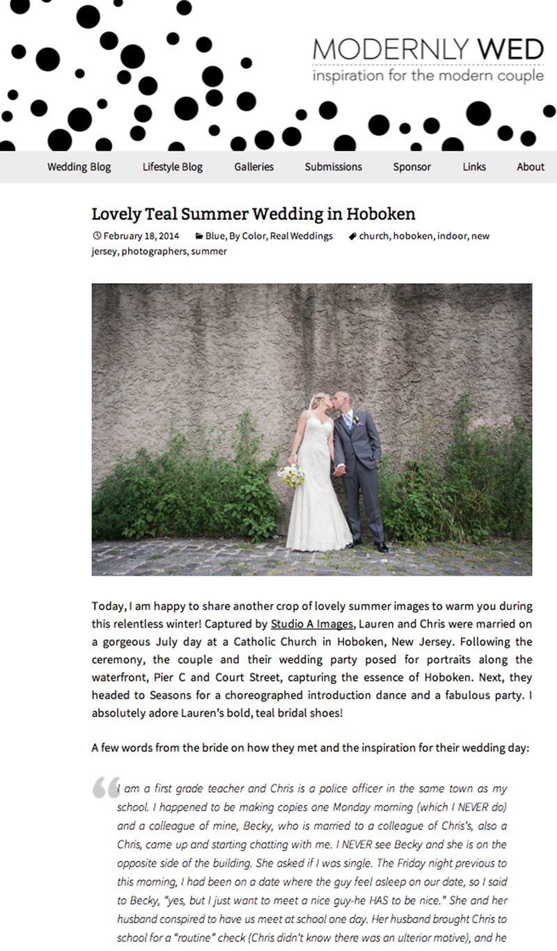 Wedding Featured on Modernly Wed | Hoboken Wedding Photos | New Jersey Wedding Photographer
