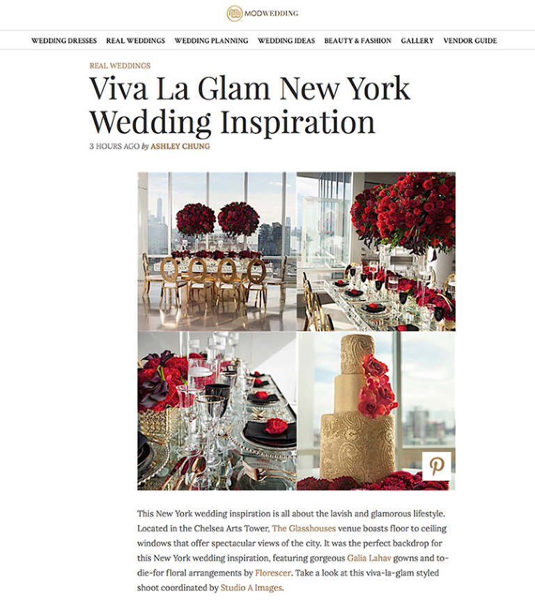 Wedding Inspiration Shoot featured on MODwedding | The Glasshouses Wedding Inspiration Shoot | NYC Wedding Photographer