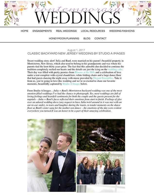 Wedding Featured on Contemporary Weddings |Morristown Wedding Photos | New Jersey Wedding Photographer