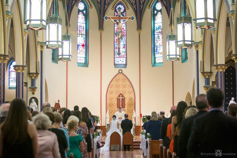 wedding ceremony at Assumption Church in Morristown