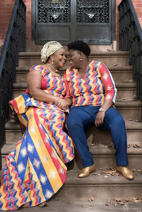 brides on their wedding day in Brooklyn. LGBTQ wedding