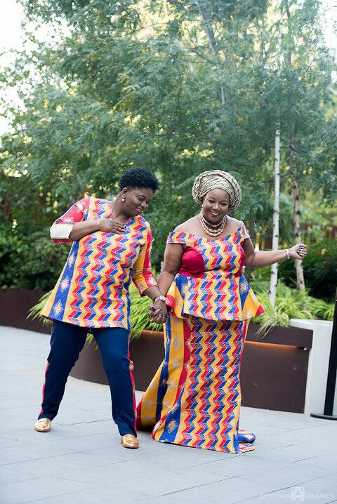 brides in Nigerian-inspired outfits on their wedding day in Brooklyn.  LGBTQ wedding