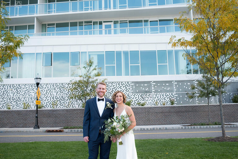 bride and groom on their wedding day in Weehawken