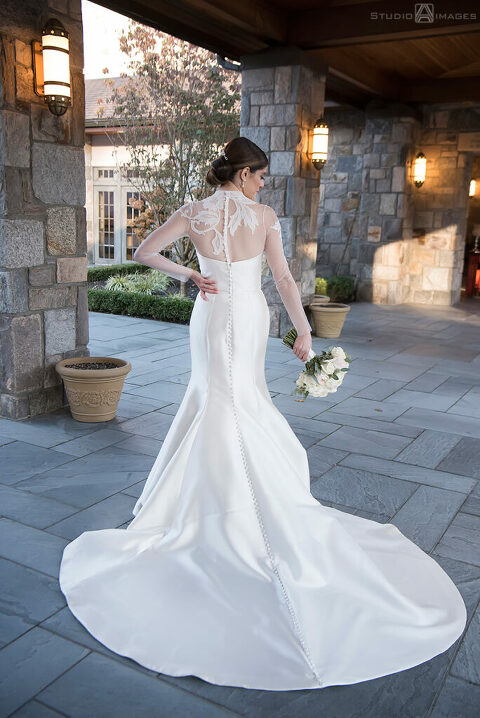 bride on their wedding day at Temple Emanu-El of Closter