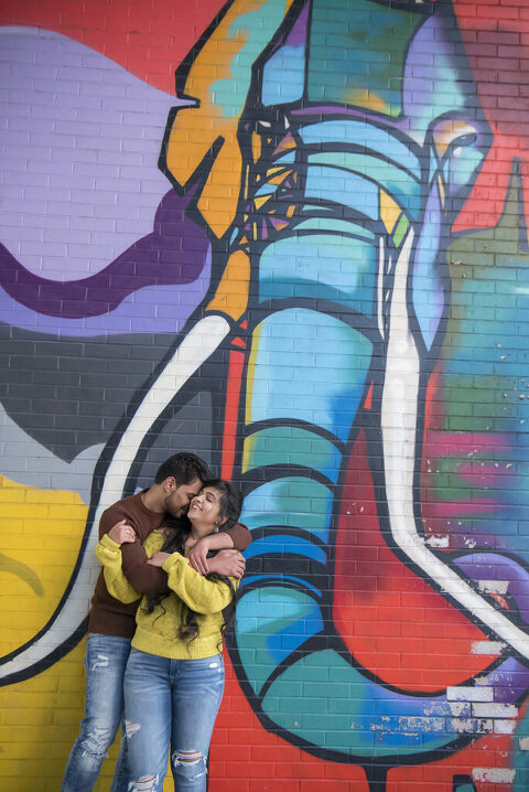 DUMBO Pre-Engagement Photo Session with street art in Brooklyn