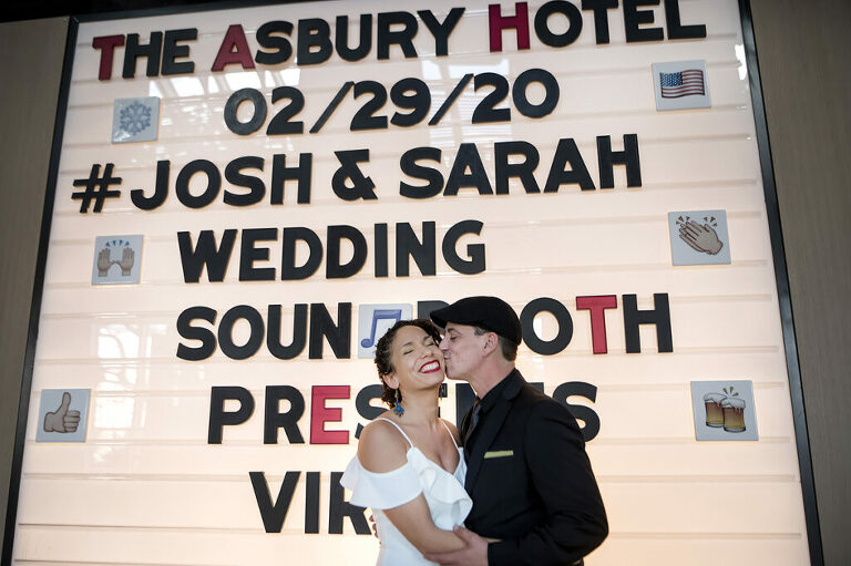 bride and groom celebrate their Leap Day wedding at The Asbury Hotel in Asbury Park
