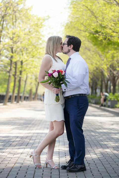 wedding couple kissing on their wedding day in Hoboken
