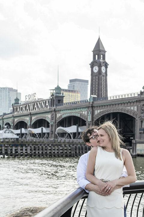 wedding couple on their wedding day in Hoboken