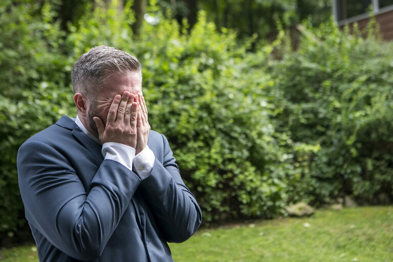 groom's reaction to seeing bride for first time on their wedding day. New York backyard wedding